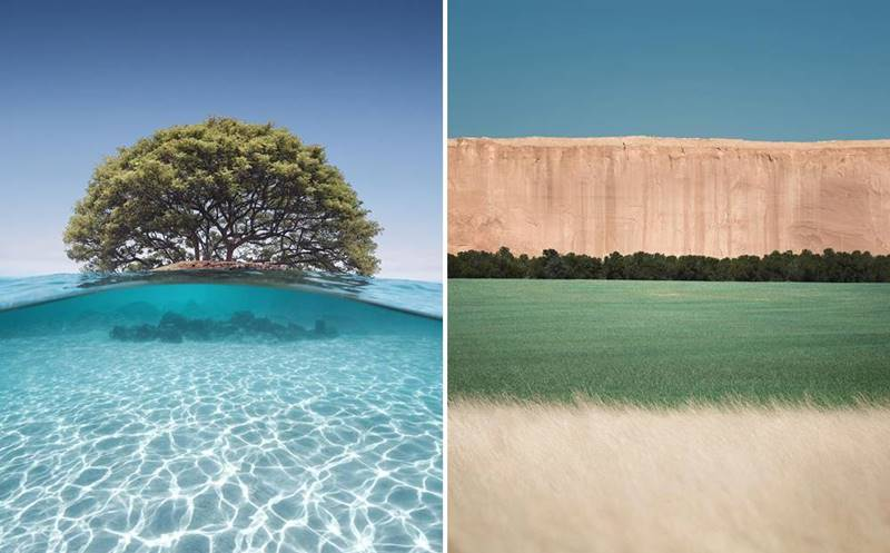 These works of an artist from the USA, who became the winner of prestigious photo contests, are surrealistic images of nature, combining photography, design and painting.