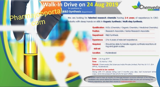 Chemveda life science walk in Drive for Research associate /Sr associate on 24th August 2019