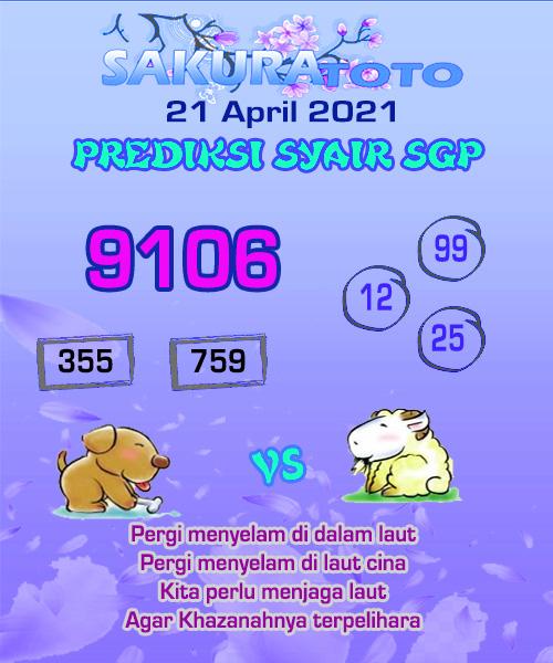 Syair Sakuratoto Singapore Rabu 21 April 2021