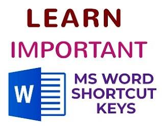 IMPORTANT MS WORD SHORTCUT