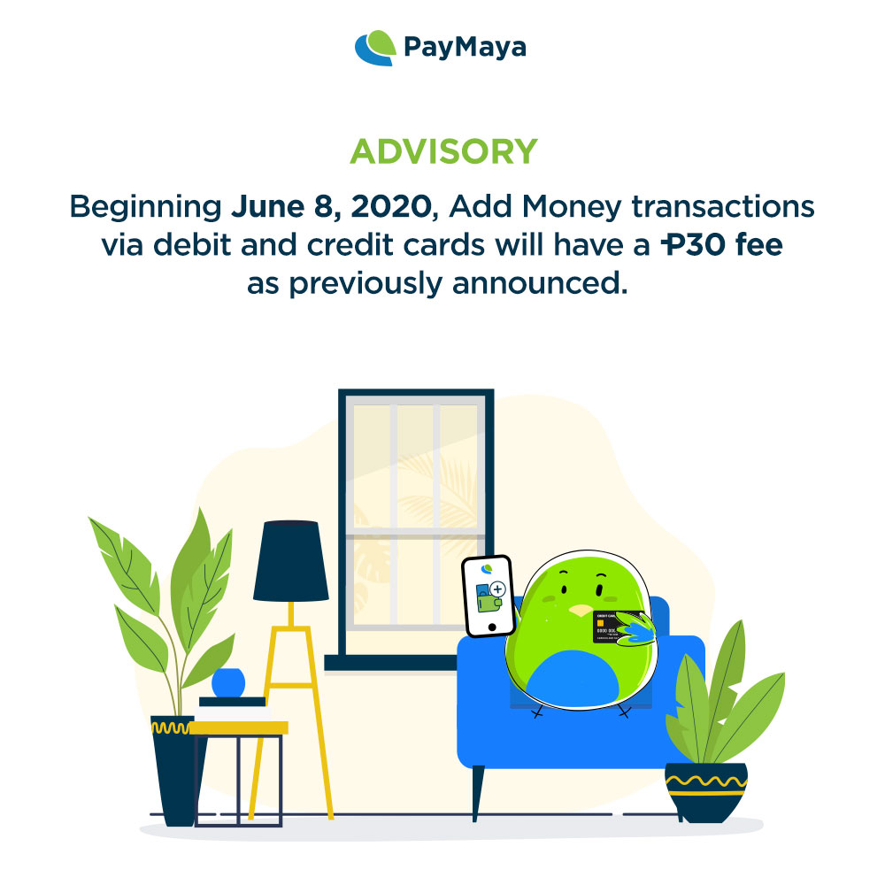paymaya add money fee