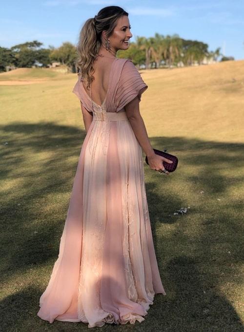 vestido longo rose com manga curta manguinha para madrinha de casamento