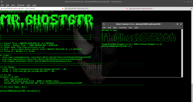 WEBSITE DEVELOPED BY: A R INFOTECH SQL injection Tested in BackBox GNU/Linux