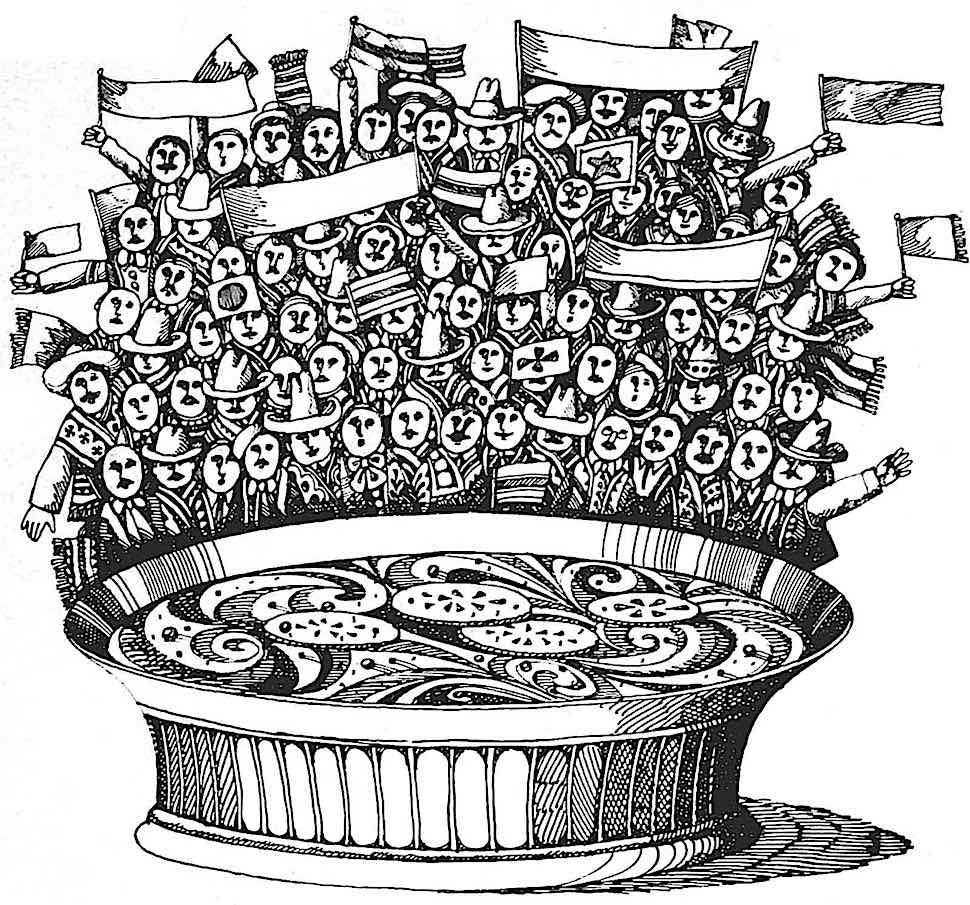 a 1968 advertising illustration for spicy Mexican dip or soup
