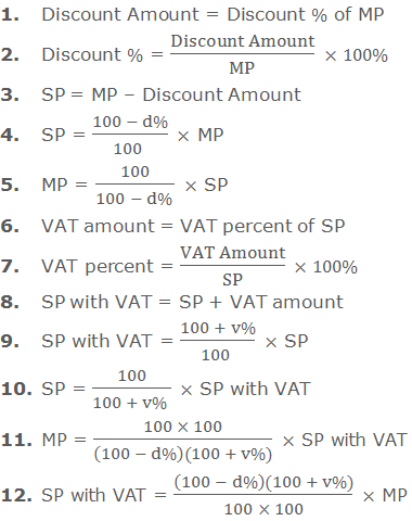 1. Discount Amount = Discount % of MP     2. Discount % = (Discount Amount)/MP  ×100%      3. SP = MP – Discount Amount     4. SP = (100 - d%)/(100 )  × MP     5. MP = 100/(100 - d% )  × SP     6. VAT amount = VAT percent of SP     7. VAT percent = (VAT Amount)/SP  ×100%     8. SP with VAT = SP + VAT amount     9. SP with VAT = (100 + v%)/(100 )  × SP     10. SP = 100/(100 + v% )  × SP with VAT     11. MP = (100 × 100)/((100 - d%)(100 + v%))  × SP with VAT     12. SP with VAT = ((100 - d%)(100 + v%))/(100 × 100)  × MP