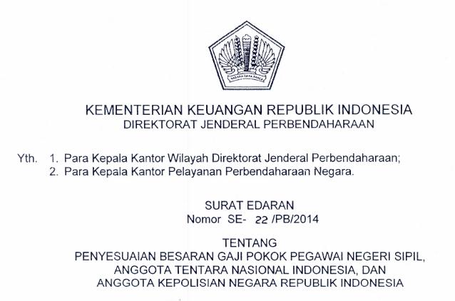 SE-22/PB/2014, Penyesuaian Gaji Pokok PNS, TNI, dan POLRI 2014