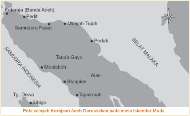 Peta wilayah Kerajaan Aceh Darussalam pada masa Iskandar Muda