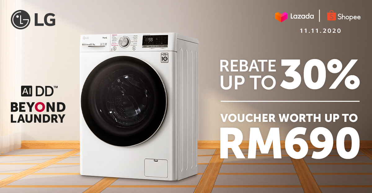 LG 11.11 Deals on Shopee and Lazada ( LG AI DD™ Washing Machine ) on Lazada and Shopee