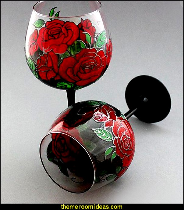 Gothic Wine Glass Gothic wine goblet Gothic red roses Gothic gift