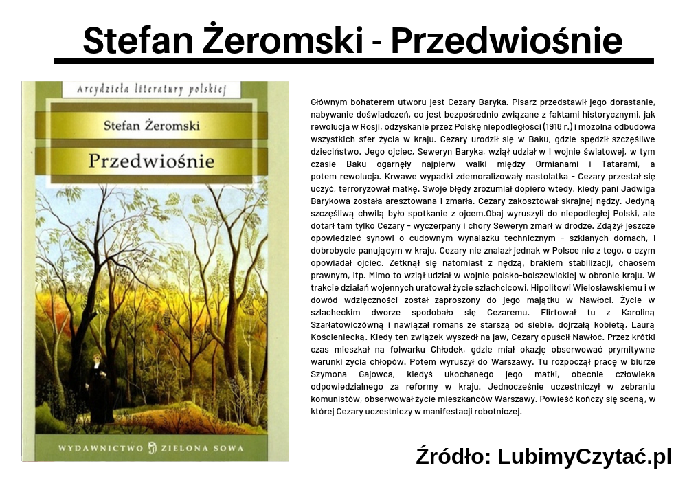 Stefan Żeromski - Przedwiośnie, Topki, Marzenie Literackie