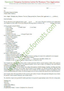 sample invitation letter for india business visa application
