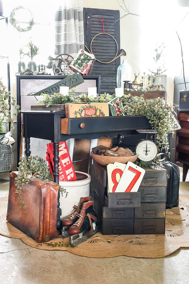 Vintage booth decorated for the holidays