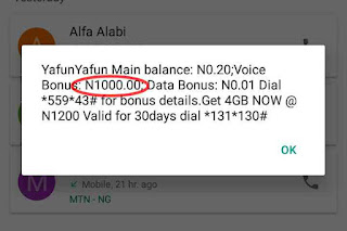 MTN Yafun Yafun main account and bonus balance