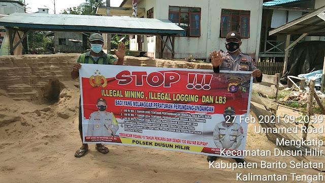 Personel Polsek Dushil Sampaikan Larangan Ilegal Mining dan Penggunaan Bahan Merkuri