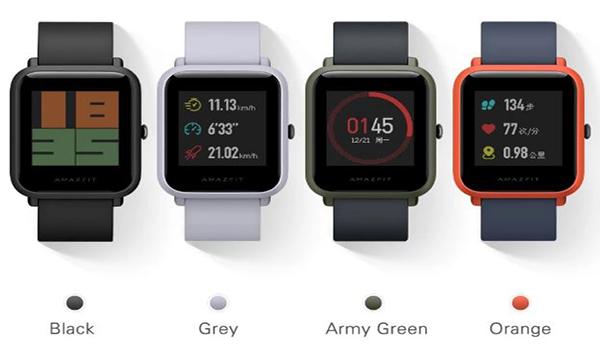 الوان ساعة Xiaomi Huami Amazfit Bip المتوفرة