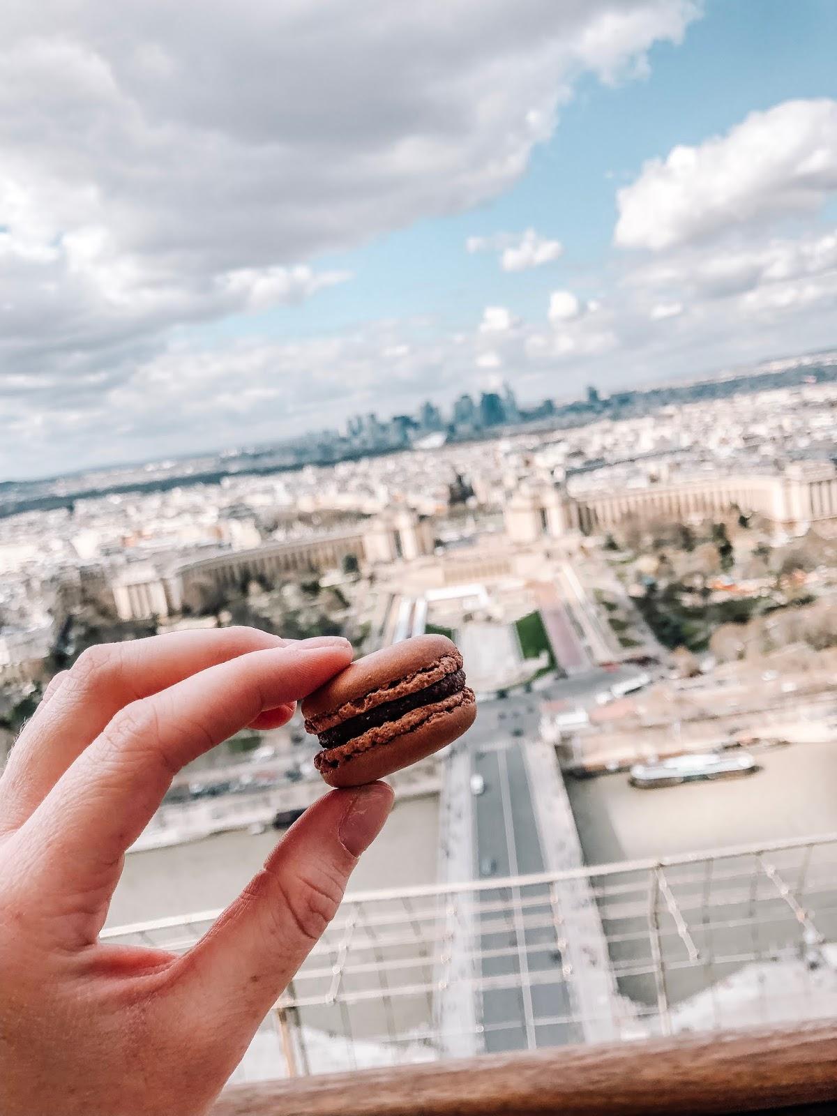 chocolate macaroon inside the Eiffel Tower