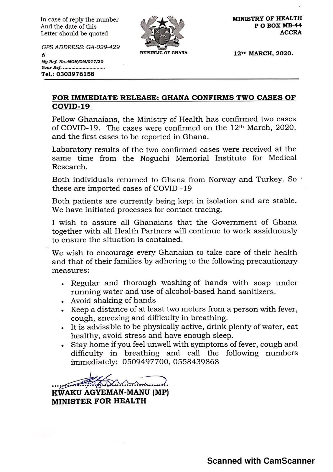 Coronavirus COVID-19 Cases in Ghana by Ministry of Health