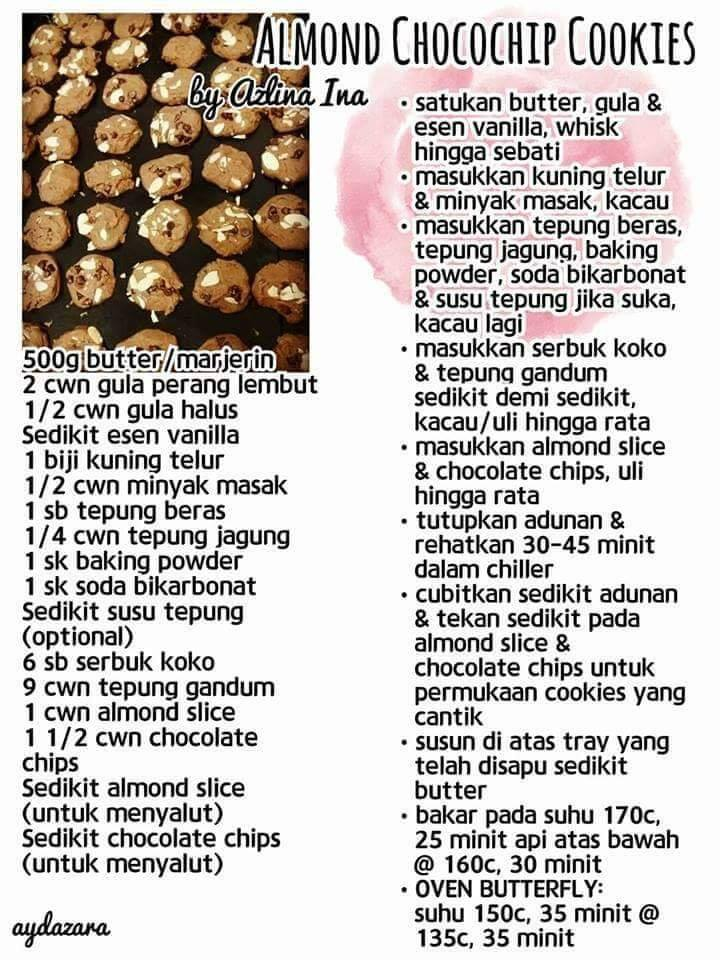 resepi almond cookies
