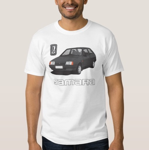 VAZ-2109 Lada Samara with black line text t-shirt