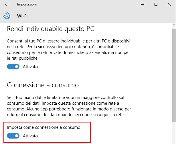 Windows 10 opzione imposta come connessione a consumo