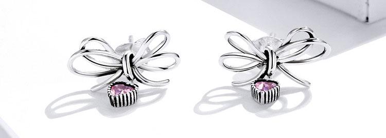 甜蜜粉鋯石愛心蝴蝶結 925純銀耳環