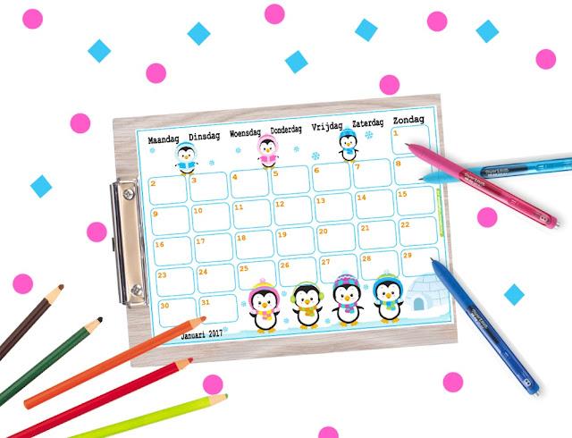 winter kalender, winter planner, kalender januari 2017,