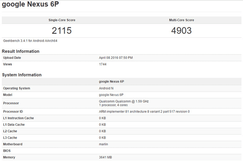Geekbench of Nexus 6P new version