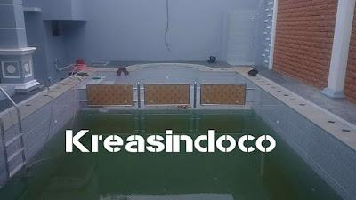 Pemasangan Pembatas Kolam Renang Bahan Rangka Stainless Dan Akrilik