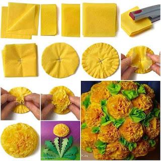 cara membuat bunga dari tisu