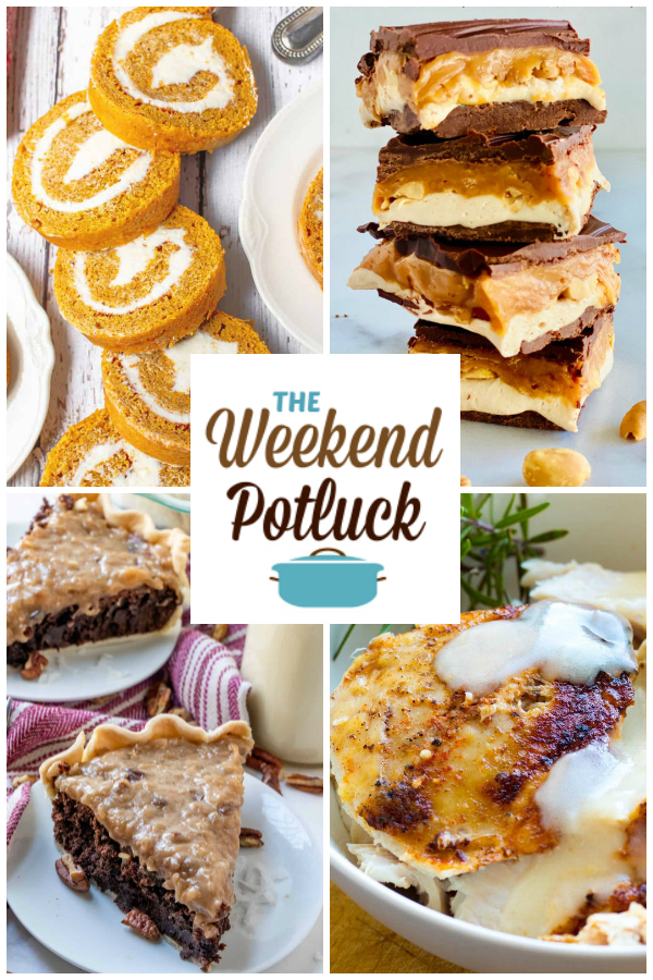 A virtual recipe swap with Pumpkin Roll, Homemade Snickers Bars, German Chocolate Pie, Slow Cooker Turkey Breast with Gravy and dozens more!
