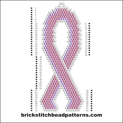 Click for a larger image of the Large Pink Ribbon brick stitch bead pattern labeled color chart.