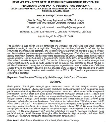 Pemanfaatan Citra Satelit Resolusi Tinggi Untuk Identifikasi Perubahan Garis Pantai [PAPER]