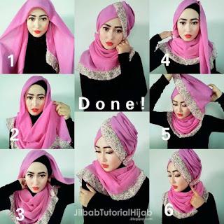 Tutorial hijab segi empat lebaran elegan