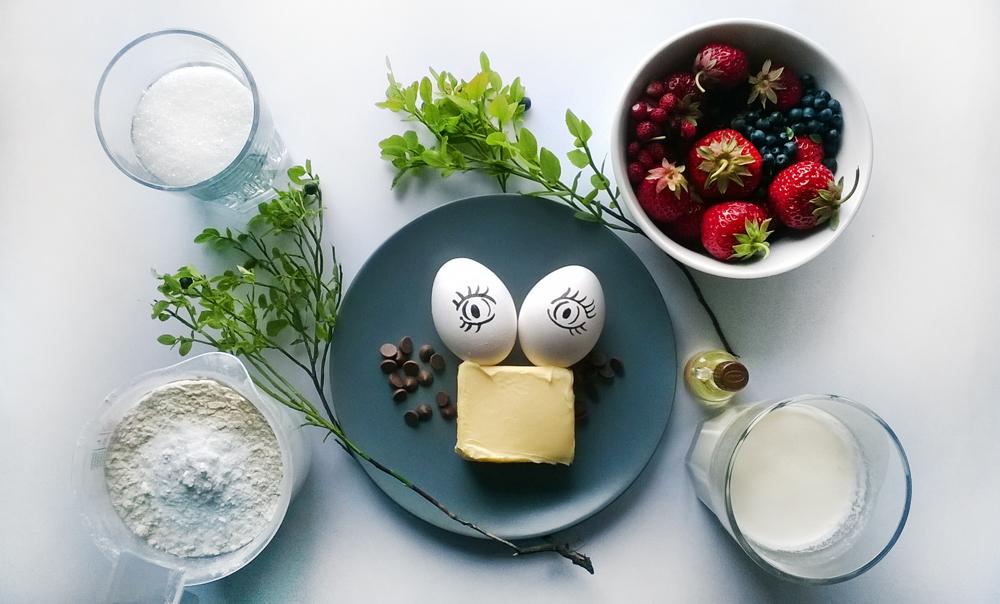 fotografia blogowa kolaż składniki babeczki