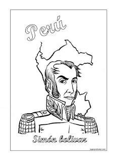 colorea dibujo de Simón Bolívar