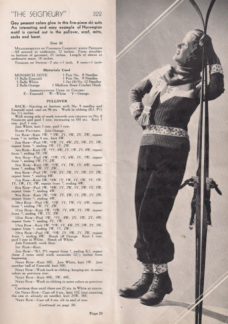 vintage knitting pattern for ski ensemble from 1936 pattern book by Monarch Yarns