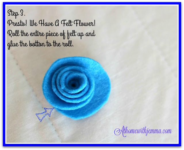 blue, felt, handcrafted, flower, handmade, diy, maker, easy, flowers, athomewithjemma.com