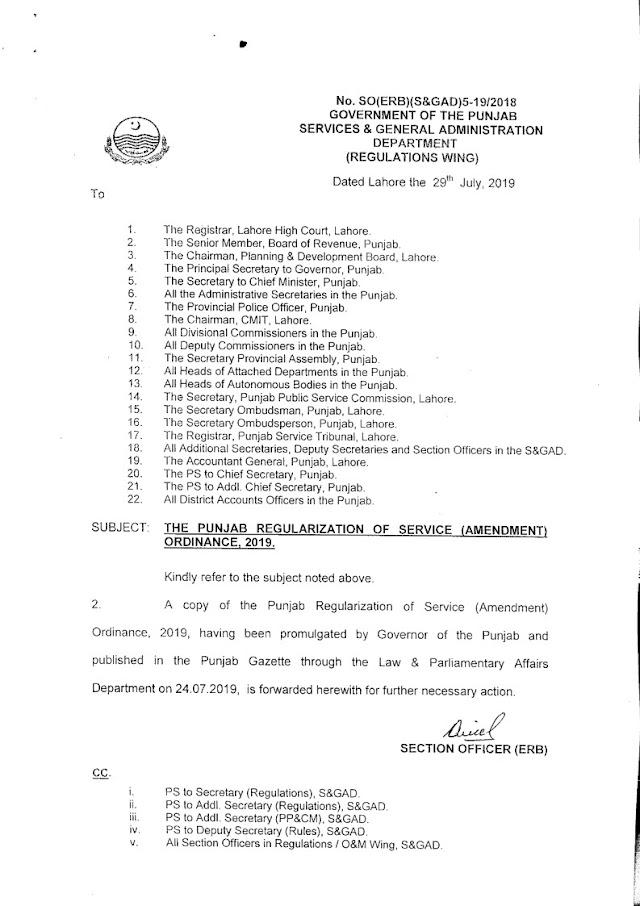 THE PUNJAB REGULARIZATION OF SERVICE (AMENDMENT) ORDINANCE, 2019