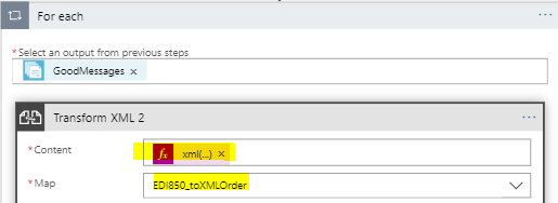 add transform xml action in foreach