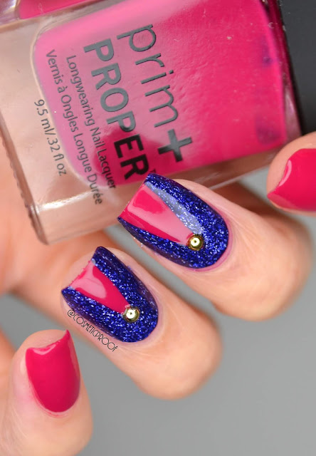 Magenta and Blue Glitter Nail Art
