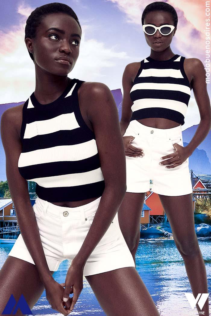 tops rayados verano 2022 moda mujer