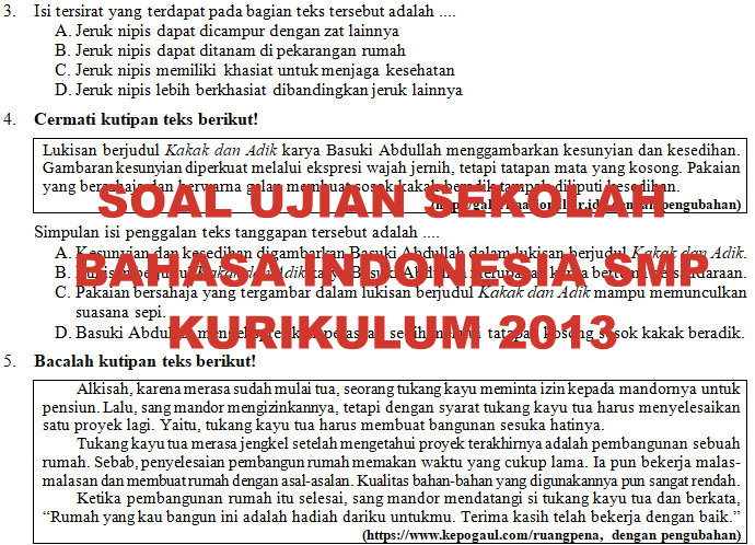 Soal Dan Kunci Jawaban Ujian Sekolah Bahasa Indonesia Smp Mts Tahun Pelajaran 2019 2020 Didno76 Com