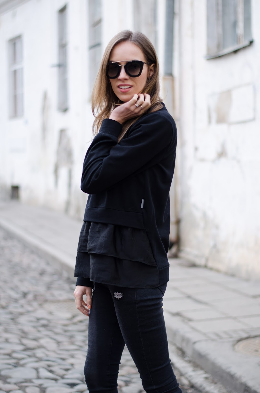 kristjaana mere m theory london black silk front sweater