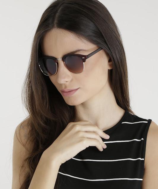 óculos redondo feminino oneself marrom - único
