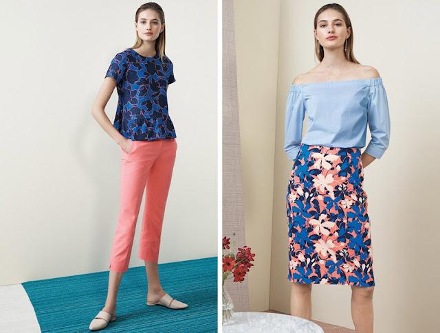 Девушка в топе и юбке с плотным цветочным принтом с низким и высоким контрастом