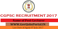 Chhattisgarh Public Service Commission Recruitment 2017- Lecturer