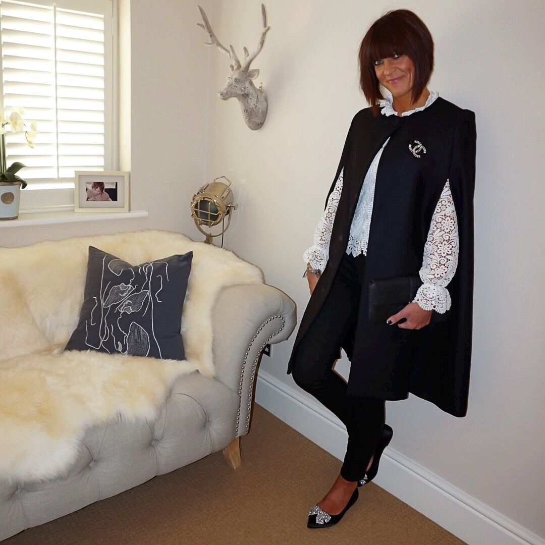 "my midlife fashion, zara longline coat, zara lace jacket, j crew 8"" toothpickjeans, chanel vintage brooch, ralph lauren lauren clutch, dune bluebelle diamante flats"