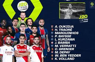 اوكيدجة في التشكيلة المثالية للجولة 20 الدوري الفرنسي 2020/2021