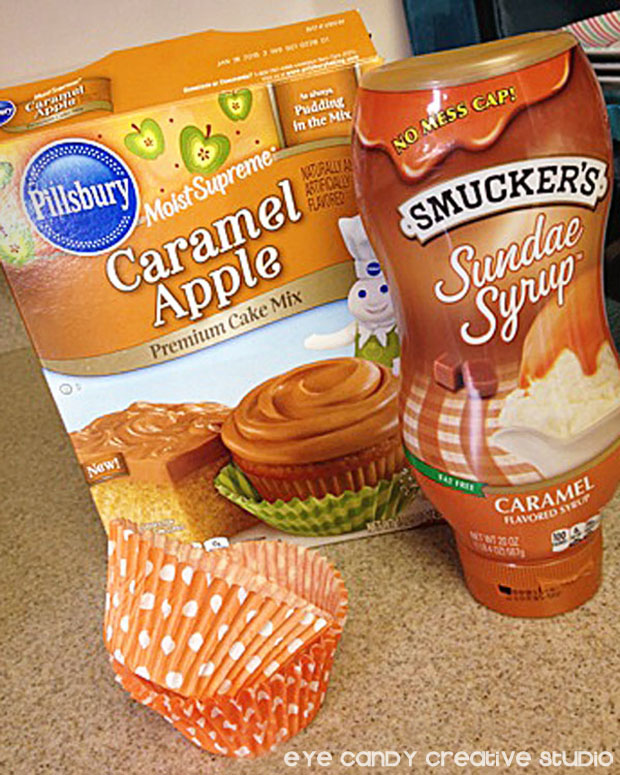 inkgredients to make caramel apple cupcakes, Pillsbury, Smuckers