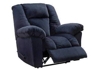 blue living room recliner